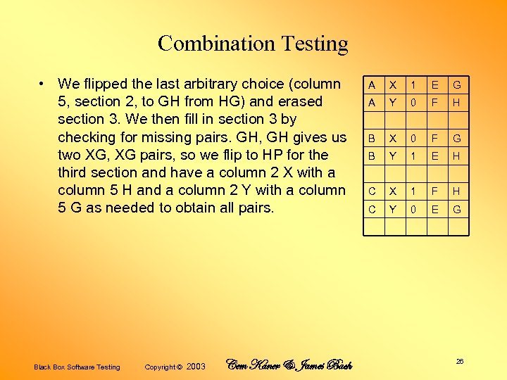 Combination Testing • We flipped the last arbitrary choice (column 5, section 2, to