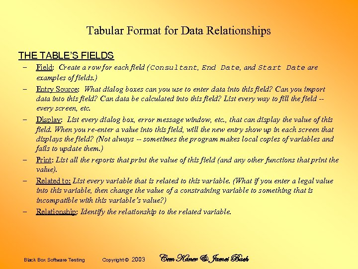 Tabular Format for Data Relationships THE TABLE'S FIELDS – – – Field: Create a