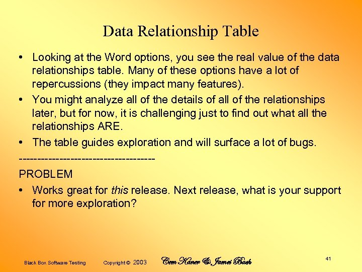 Data Relationship Table • Looking at the Word options, you see the real value