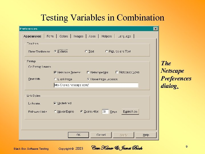 Testing Variables in Combination The Netscape Preferences dialog. Black Box Software Testing Copyright ©