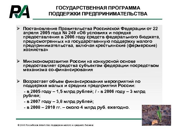 ГОСУДАРСТВЕННАЯ ПРОГРАММА ПОДДЕРЖКИ ПРЕДПРИНИМАТЕЛЬСТВА Ø Постановление Правительства Российской Федерации от 22 апреля 2005 года