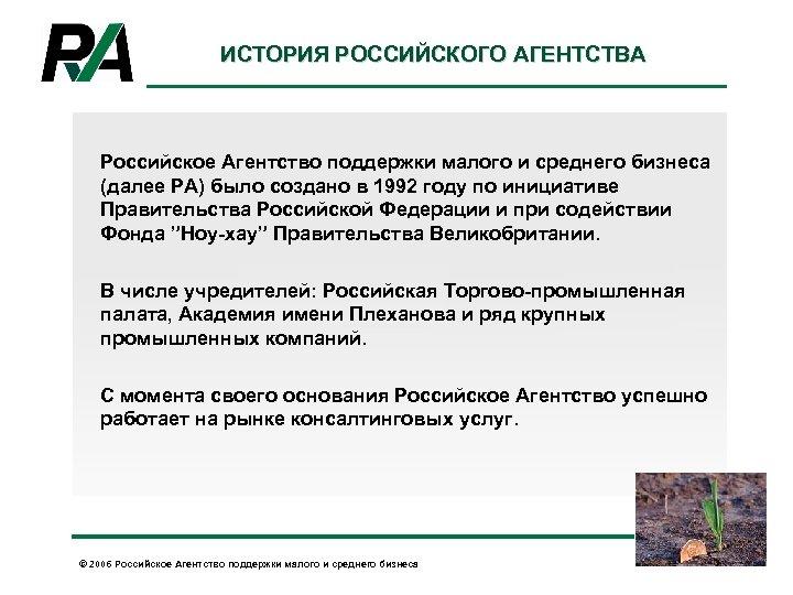 ИСТОРИЯ РОССИЙСКОГО АГЕНТСТВА Российское Агентство поддержки малого и среднего бизнеса (далее РА) было создано