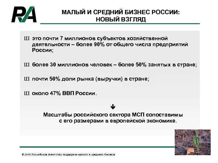 МАЛЫЙ И СРЕДНИЙ БИЗНЕС РОССИИ: НОВЫЙ ВЗГЛЯД Ш это почти 7 миллионов субъектов хозяйственной