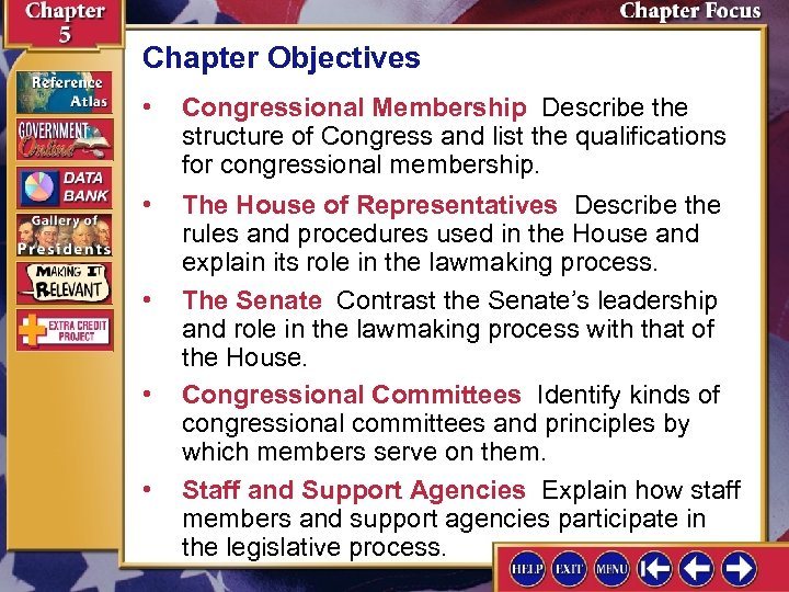 Chapter Objectives • Congressional Membership Describe the structure of Congress and list the qualifications