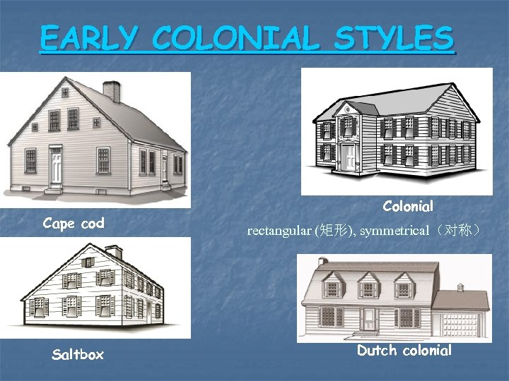 EARLY COLONIAL STYLES Cape cod Saltbox Colonial rectangular (矩形), symmetrical(对称) Dutch colonial