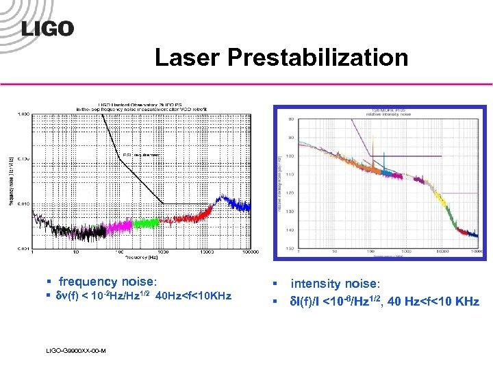 Laser Prestabilization § frequency noise: § dn(f) < 10 -2 Hz/Hz 1/2 LIGO-G 9900