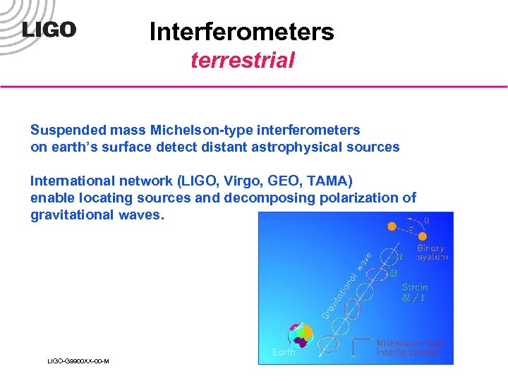 Interferometers terrestrial Suspended mass Michelson-type interferometers on earth's surface detect distant astrophysical sources International