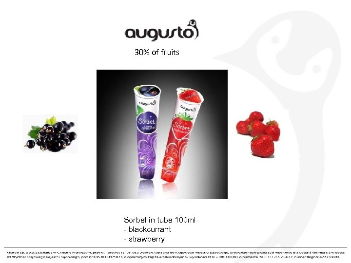 30% of fruits Sorbet in tube 100 ml - blackcurrant - strawberry