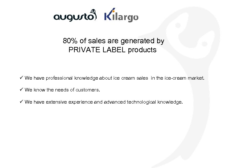 80% of sales are generated by PRIVATE LABEL products ü We have professional