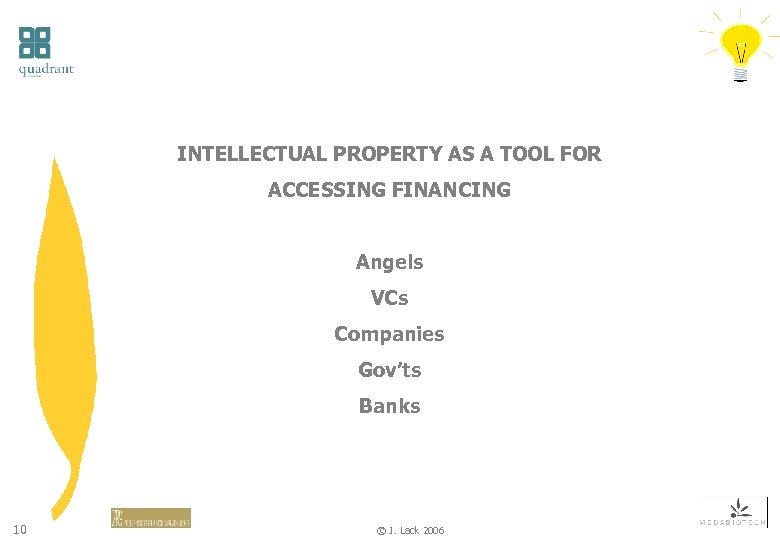 INTELLECTUAL PROPERTY AS A TOOL FOR ACCESSING FINANCING Angels VCs Companies Gov'ts Banks 10