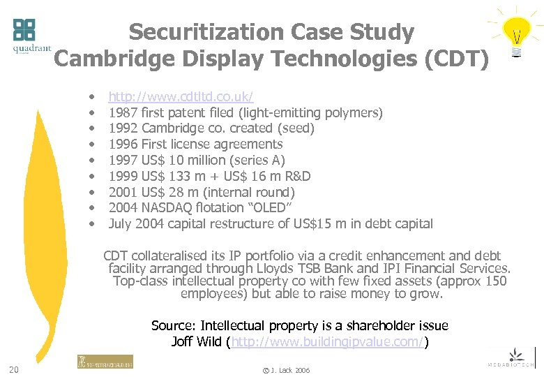 Securitization Case Study Cambridge Display Technologies (CDT) • • • http: //www. cdtltd. co.