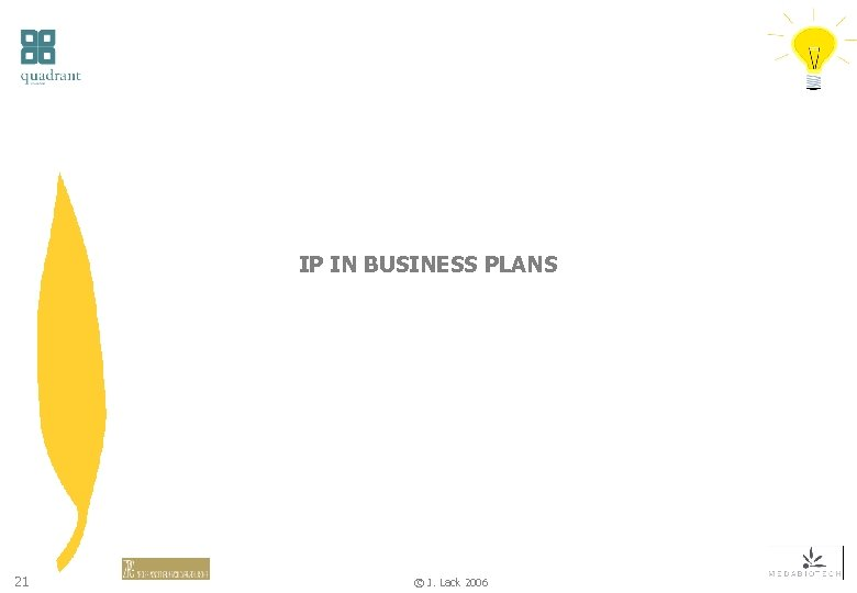 IP IN BUSINESS PLANS 21 © J. Lack 2006