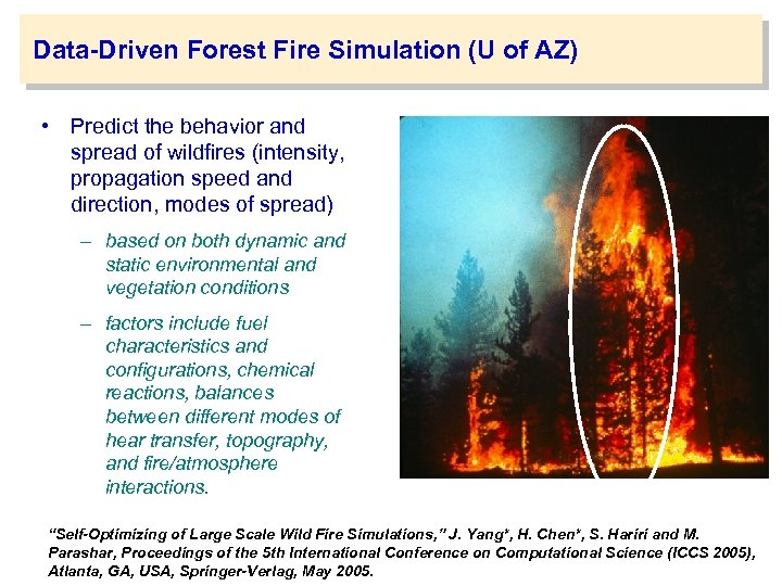 Data-Driven Forest Fire Simulation (U of AZ) • Predict the behavior and spread of