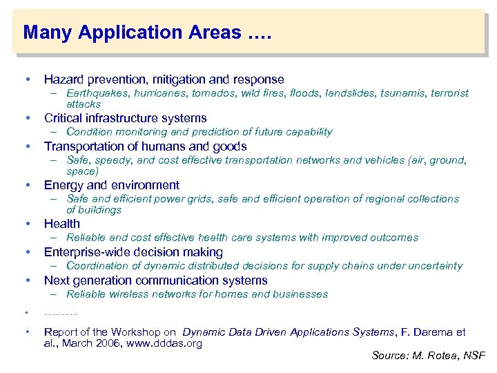 Many Application Areas …. • Hazard prevention, mitigation and response – Earthquakes, hurricanes, tornados,