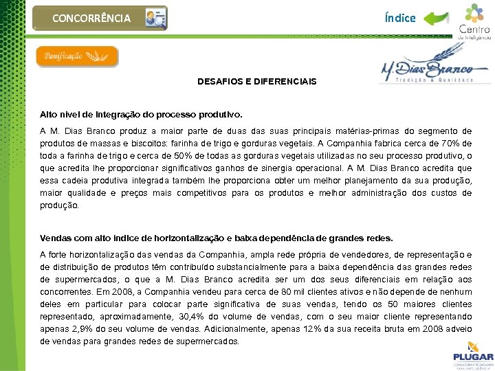 Índice CONCORRÊNCIA DESAFIOS E DIFERENCIAIS Alto nível de integração do processo produtivo. A M.