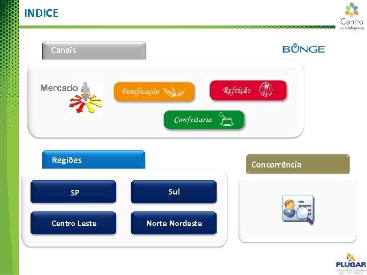 INDICE Canais Mercado Regiões Concorrência SP Sul Centro Leste Nordeste