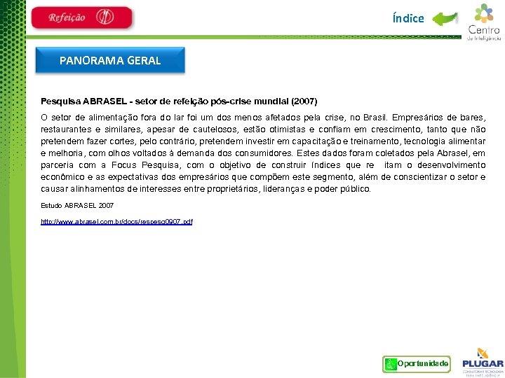 Índice PANORAMA GERAL Pesquisa ABRASEL - setor de refeição pós-crise mundial (2007) O setor