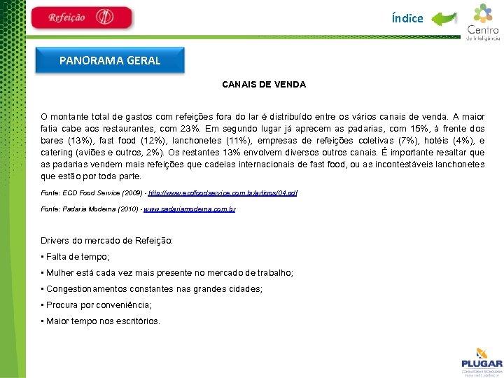 Índice PANORAMA GERAL CANAIS DE VENDA O montante total de gastos com refeições fora