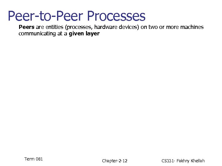 Peer-to-Peer Processes Peers are entities (processes, hardware devices) on two or more machines communicating