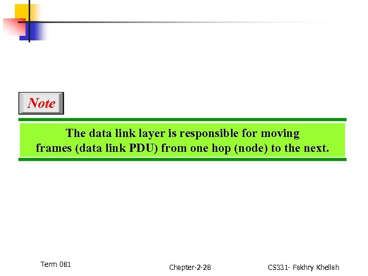Note The data link layer is responsible for moving frames (data link PDU) from