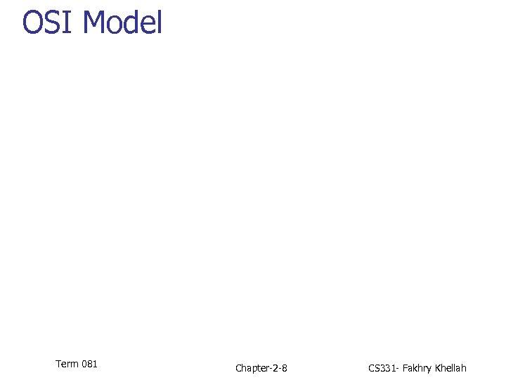 OSI Model Term 081 Chapter-2 -8 CS 331 - Fakhry Khellah