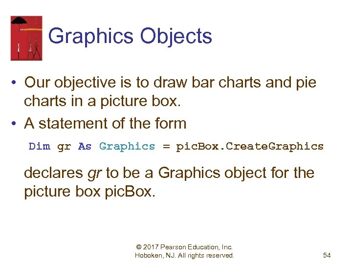 Graphics Objects • Our objective is to draw bar charts and pie charts in