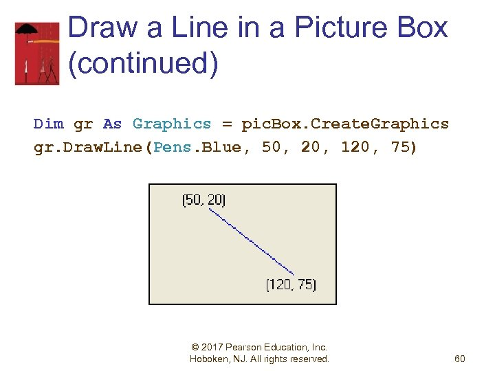 Draw a Line in a Picture Box (continued) Dim gr As Graphics = pic.