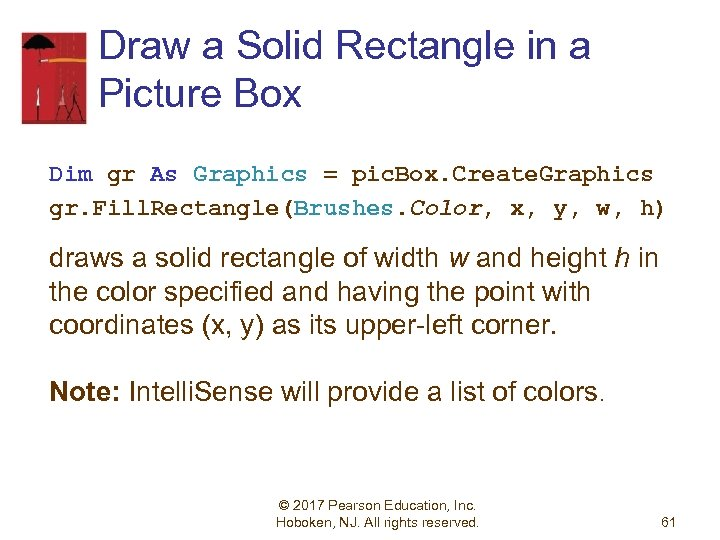 Draw a Solid Rectangle in a Picture Box Dim gr As Graphics = pic.