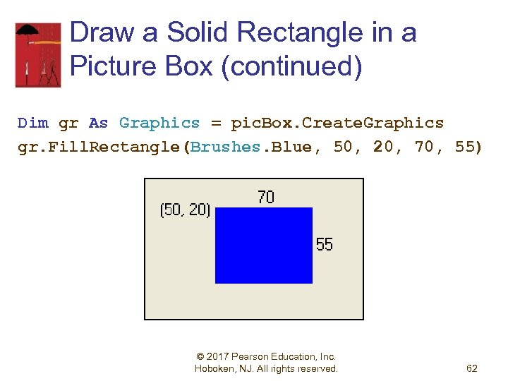 Draw a Solid Rectangle in a Picture Box (continued) Dim gr As Graphics =