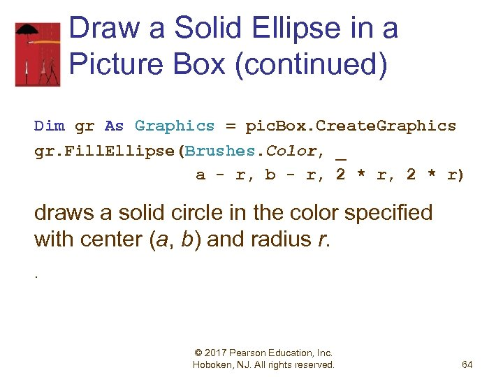 Draw a Solid Ellipse in a Picture Box (continued) Dim gr As Graphics =