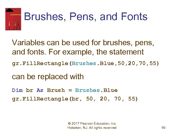 Brushes, Pens, and Fonts Variables can be used for brushes, pens, and fonts. For
