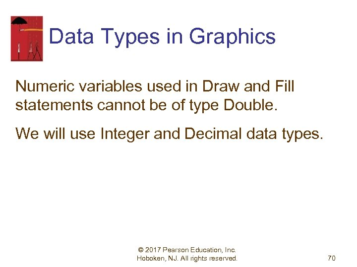 Data Types in Graphics Numeric variables used in Draw and Fill statements cannot be