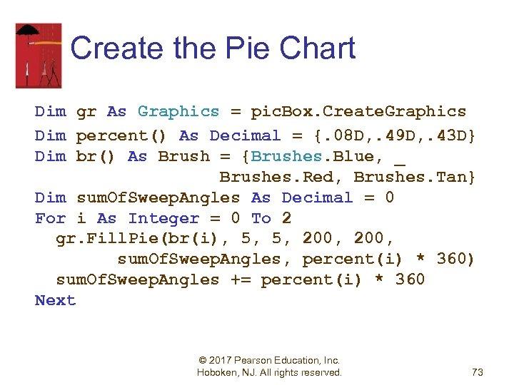 Create the Pie Chart Dim gr As Graphics = pic. Box. Create. Graphics Dim