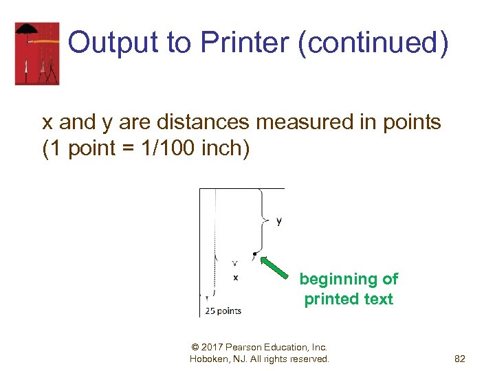 Output to Printer (continued) x and y are distances measured in points (1 point