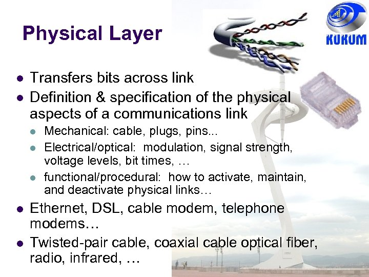 Physical Layer Transfers bits across link Definition & specification of the physical aspects of