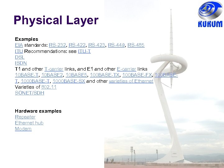 Physical Layer Examples EIA standards: RS-232, RS-423, RS-449, RS-485 ITU Recommendations: see ITU-T DSL
