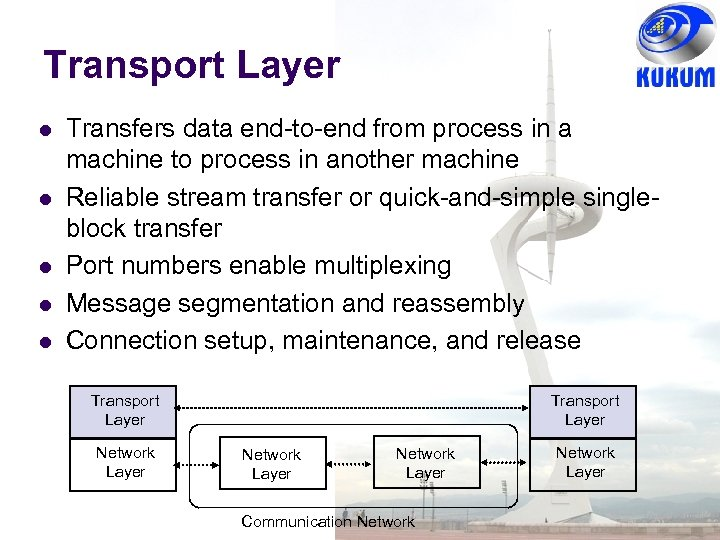 Transport Layer Transfers data end-to-end from process in a machine to process in another
