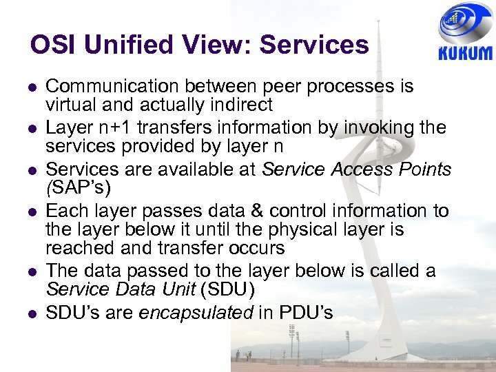 OSI Unified View: Services Communication between peer processes is virtual and actually indirect Layer
