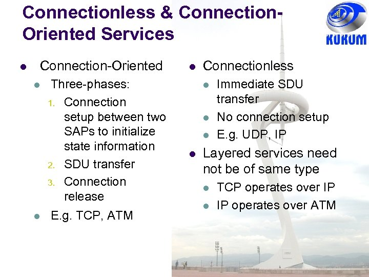 Connectionless & Connection. Oriented Services Connection-Oriented Three-phases: 1. Connection setup between two SAPs to