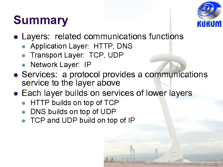 Summary Layers: related communications functions Application Layer: HTTP, DNS Transport Layer: TCP, UDP Network