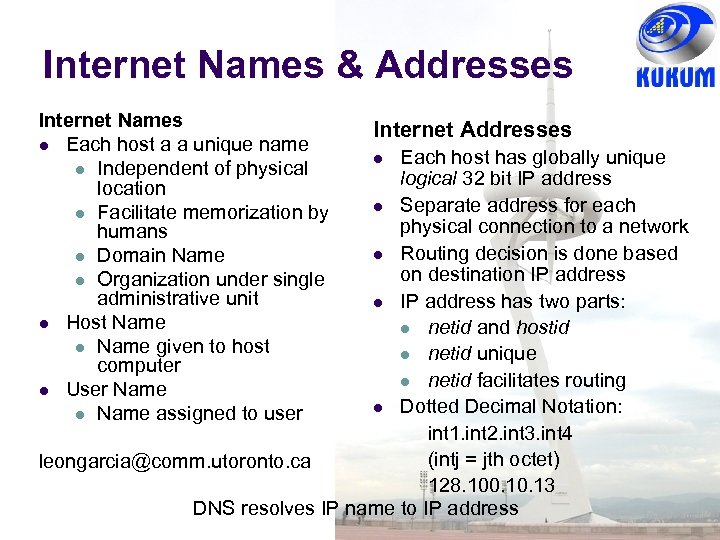 Internet Names & Addresses Internet Names Each host a a unique name Independent of