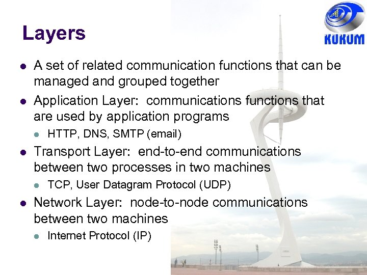 Layers A set of related communication functions that can be managed and grouped together