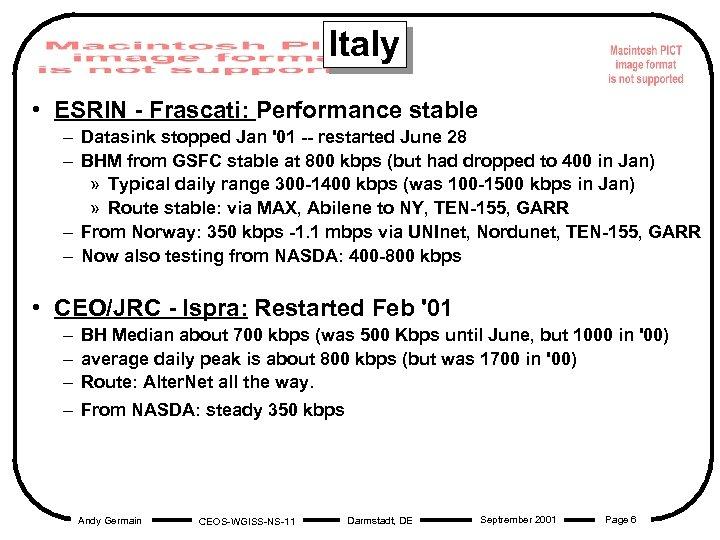 Italy • ESRIN - Frascati: Performance stable – Datasink stopped Jan '01 -- restarted