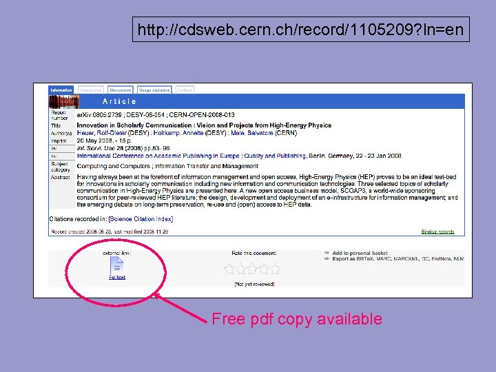 http: //cdsweb. cern. ch/record/1105209? ln=en http: //cdsweb. cern. ch/record/1115073? ln=en Free pdf copy available