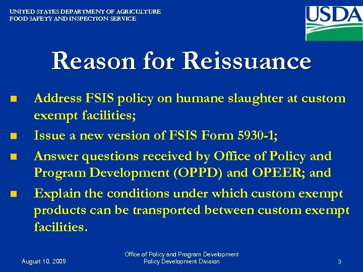 UNITED STATES DEPARTMENT OF AGRICULTURE FOOD SAFETY AND INSPECTION SERVICE Reason for Reissuance n