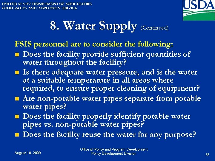 UNITED STATES DEPARTMENT OF AGRICULTURE FOOD SAFETY AND INSPECTION SERVICE 8. Water Supply (Continued)