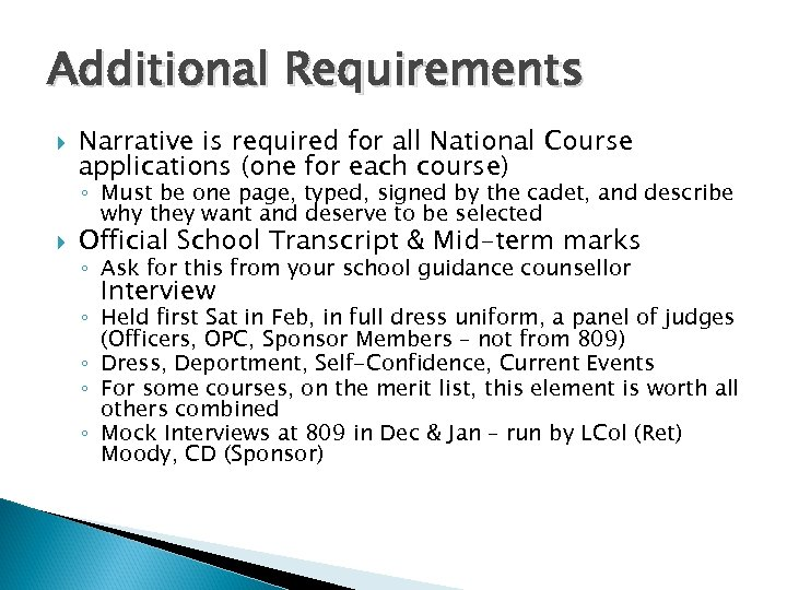 Additional Requirements Narrative is required for all National Course applications (one for each course)