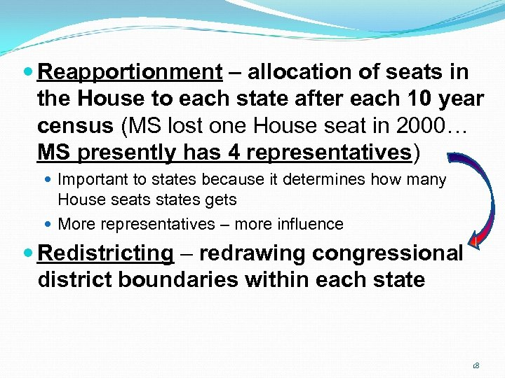 Reapportionment – allocation of seats in the House to each state after each