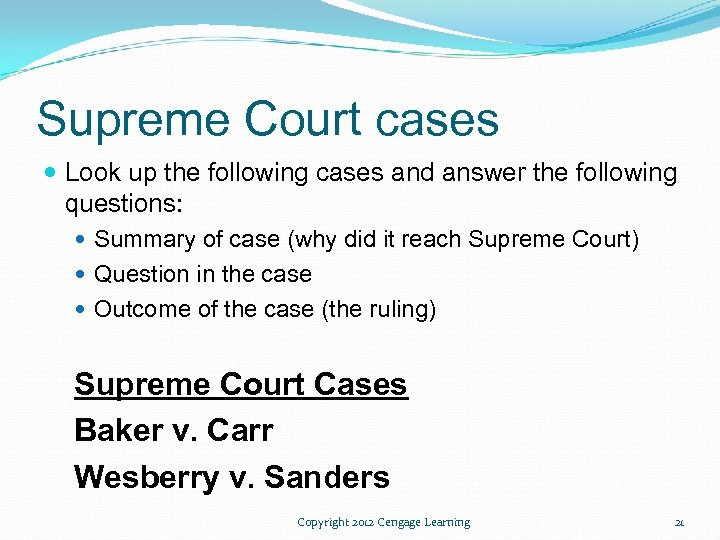 Supreme Court cases Look up the following cases and answer the following questions: Summary
