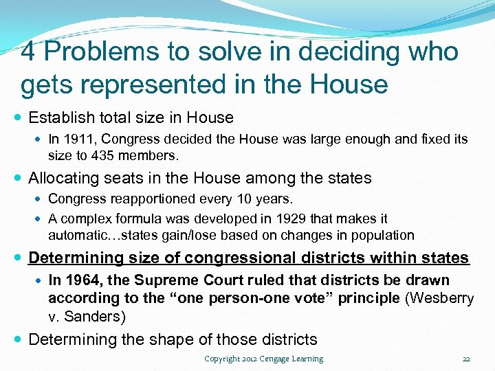 4 Problems to solve in deciding who gets represented in the House Establish total